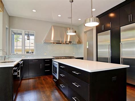 kitchen with black cabinets