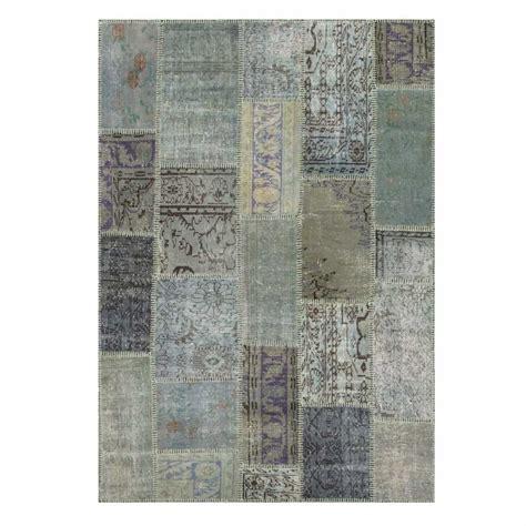 tapis de salon kilim patchwork gris bleu en laine  coton