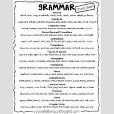 Free Standard English Grammar Cheat Sheet And Grammar Sort Sheet  Literacy Ideas Teaching