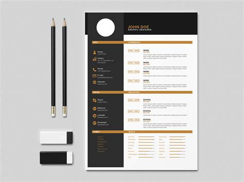 free flat indesign resume template with design