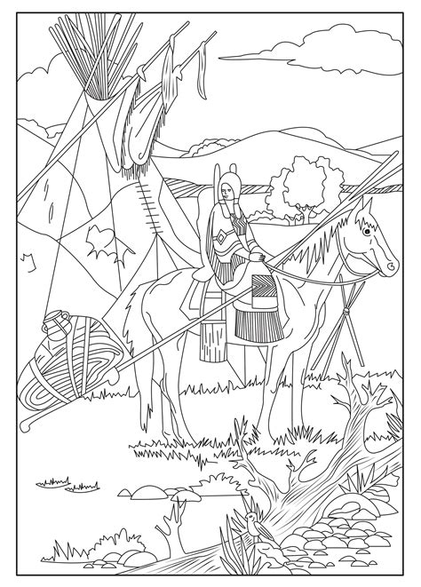coloring page show  native american   horse