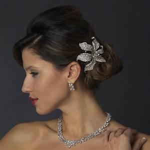 Silver Clear Flower Hair Clips Elegant Bridal Hair