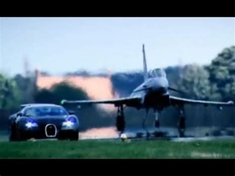 The challenge is, the veyron has to go one mile down a straight runway, brake, turn i saw that episode of top gear aswell, both the eurofighter and the veyron are awesome machines! Top Gear : Bugatti Veyron vs Euro Fighter - Top Gear - BBC - YouTube