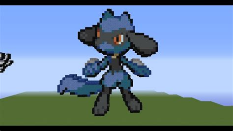 minecraft pixel art tutorial  riolu youtube