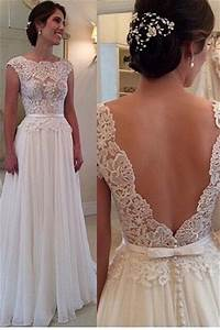 lace chiffon elegant wedding dress with bowknot sash open With elegant dresses for wedding