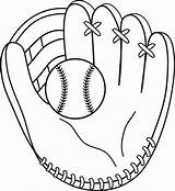 Baseball Mitt Clip Line Colorable Coloring Sweetclipart sketch template
