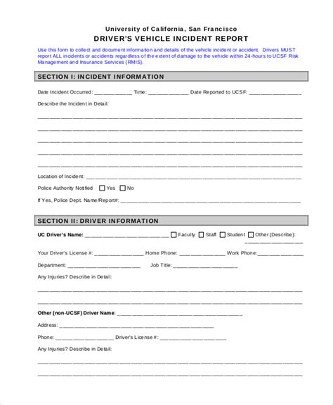 incident form pdf vehicle incident report form template 17 sle incident