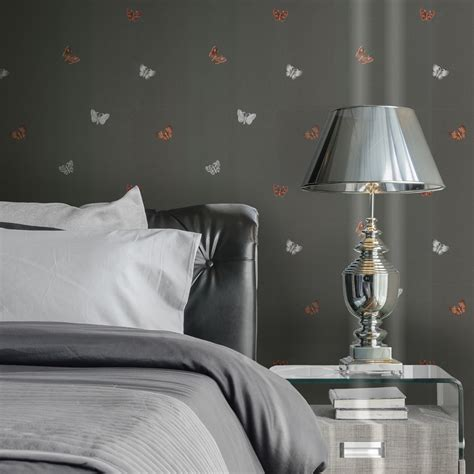 Modern Wallpaper Amelia Butterfly Charcoal And Rose Muriva
