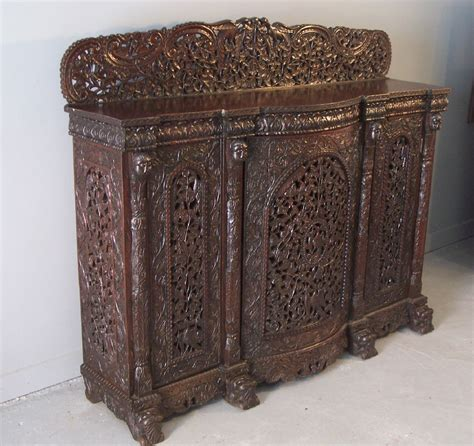 Furniture India by 7901 Western India Bombay Pierced Carved Cabinet C1870