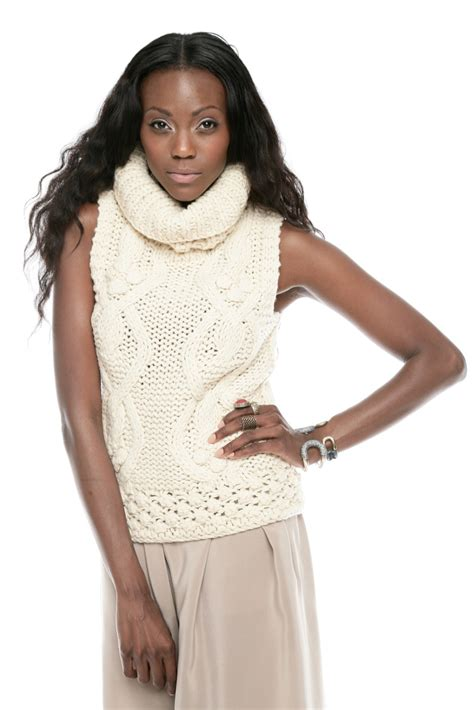 sleeveless turtleneck sweater hazel cable knit sleeveless turtleneck sweater from edina