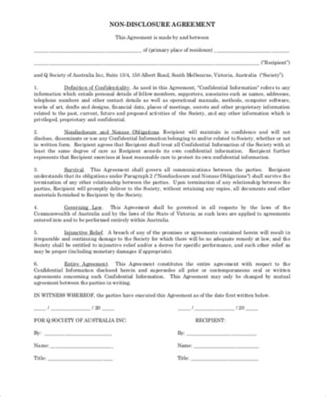 disclosure sample agreement form   documents