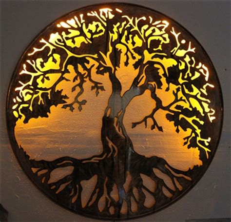 tree of life metal wall art 24 quot lit with ac powered led