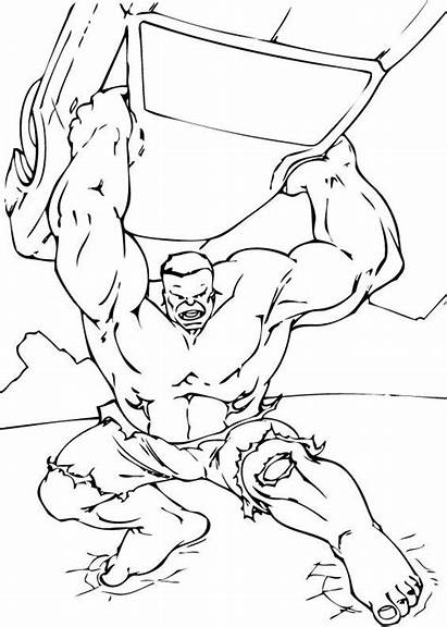 Hulk Coloring Pages Incredible Cartoon Action Avengers