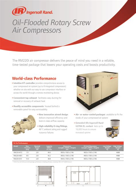 Checking the oil in a ml350 is fairly easy and should be done once a month. Ingersoll Rand RMi 220 kW Oil-Flooded Rotary Screw Air Compressor - ASPRICH - Air Compressor ...