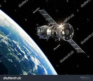 Spacecraft Orbiting Earth 3d Illustration Stock ...
