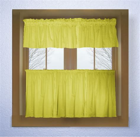 Lemon Bright Yellow Color Tier Kitchen Curtain Two Panel Set