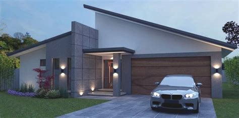 skillion roof  bed home plan green double garage