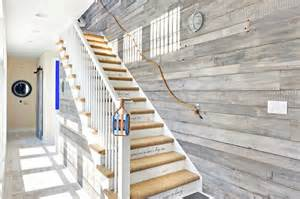 Sisal Escalier by Rope Railing Cottage Entrance Foyer Echelon Custom Homes