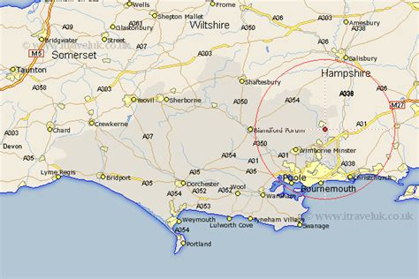 Street And Road Maps Of Dorset England Uk