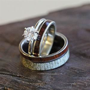 Unique deer antler wedding ring set women39s diamond and for Wedding rings sets for women