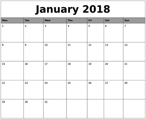 calendar 2018 template january 2018 calendar printable template pdf uk usa canada