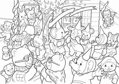 Coloring Calico Critters Pages Sylvanian Preschooler