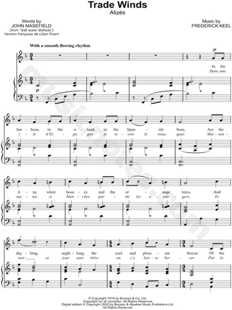 frederick keel quot trade winds quot sheet music in f major