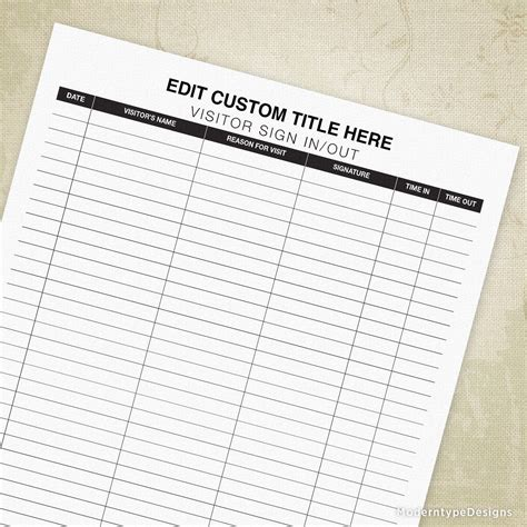 Free to download and print. Visitor Sign In and Out Sheet Printable Form, Building Log ...