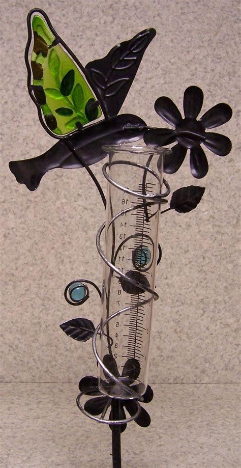 rain gauge hummingbird new metal with glass tube measures