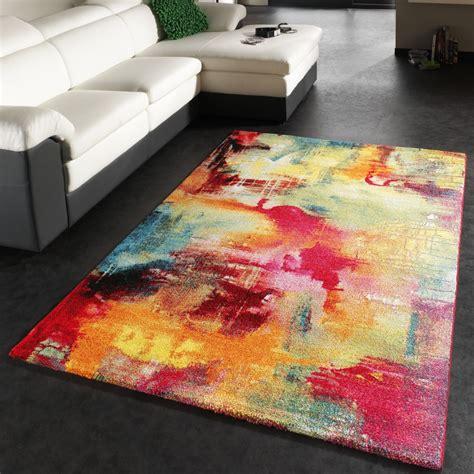 teppich designer teppich modern design teppich leinwand optik multicolour grün blau rot gelb wohn und