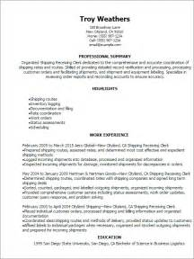 warehouse shipping and receiving resume sles professional shipping receiving clerk resume templates to showcase your talent myperfectresume