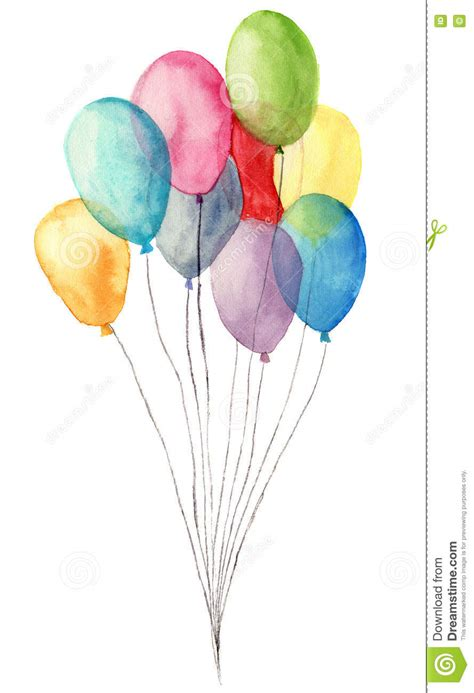 watercolor air balloons hand painted illustration  blue