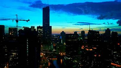 Lapse Sunset Chicago Giphy Lights Gifs Cityscape