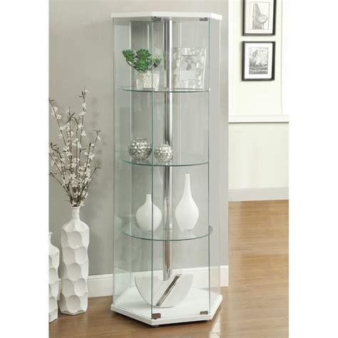 Coaster Glass Hexagon Curio Cabinet in White   950001