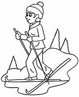 Coloring Skiing Pages Ski Sheets Books Snow sketch template