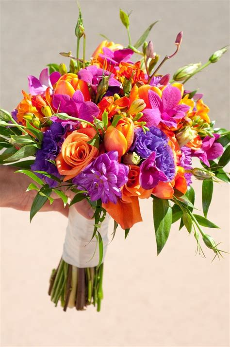 Purple Bright Wedding Bouquet With Orange Hot Pink Roses