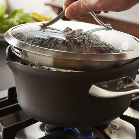 calphalon contemporary nonstick  qt pour  strain sauce pan calphalonusastore