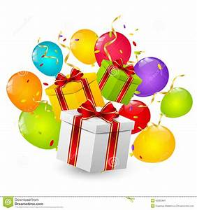Cajas De Regalo De Cumpleaños Ilustración del Vector Ilustración de grupo, globo: 42263441