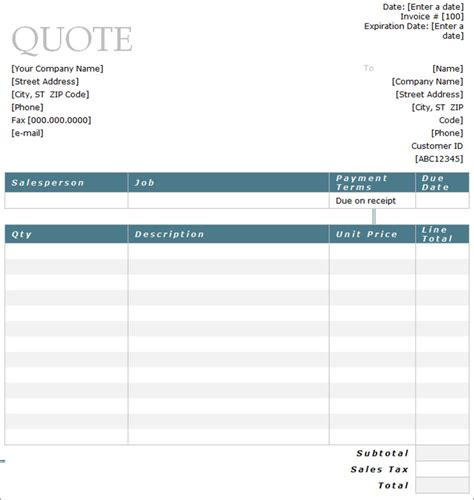 service quote template 10 sle estimate templates free word pdf excel formats