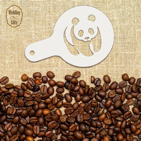 This is a comission for a man that loves the bears and have some symbols importants for him. Panda Bear Coffee and Cookies Stencils, Bear Stencils ...