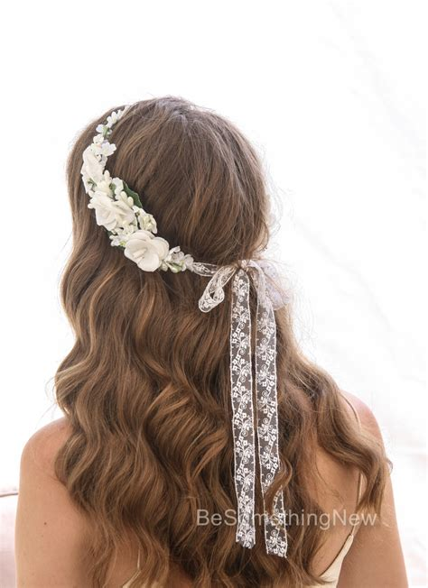 ivory flower crown  vintage flowers wedding rustic