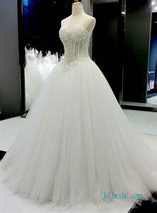h1372 sexy illusion beading bodice with tulle bottom With tulle bottom wedding dress