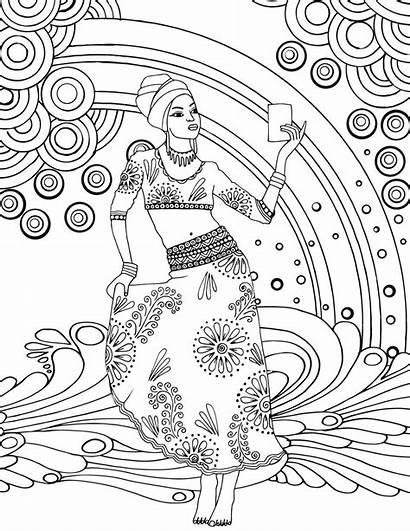 Coloring African Pages Goddess Printable Colouring Adult