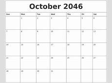 October 2046 Free Blank Calendar