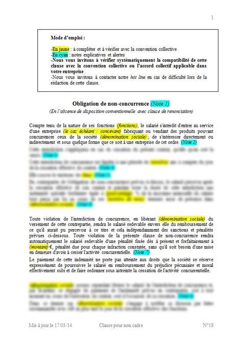 clause de non concurrence exemple modele contrat de travail avec clause de non concurrence lettre de motivation