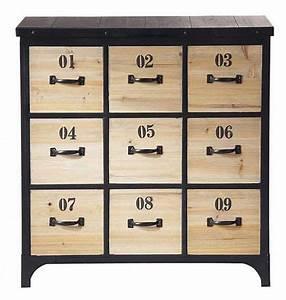 Commode Vintage Pas Cher : commode vintage industriel bois 9 tiroirs meubles pas cher pinterest commodes tiroir et ~ Teatrodelosmanantiales.com Idées de Décoration