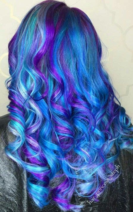 Beautiful Blue And Purple Dyed Hair Color Colorful Hair