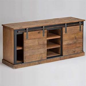 entertainment console with barn style sliding doors With barn style tv console