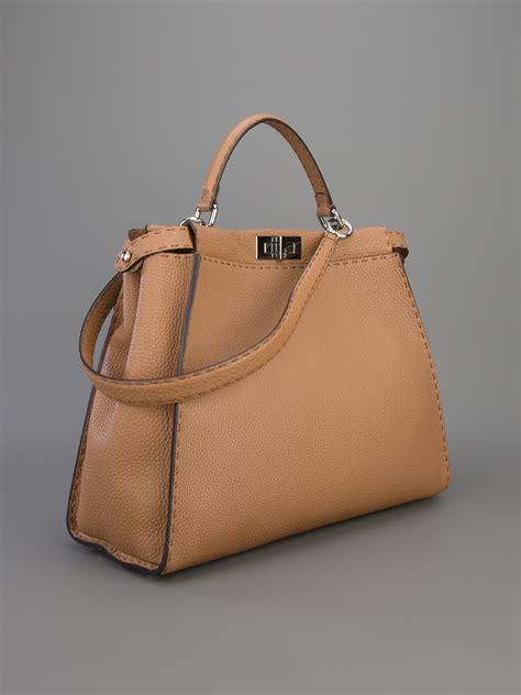 lyst fendi selleria peekaboo tote bag  brown