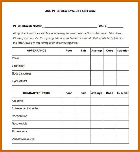 evaluation form sample imageresume
